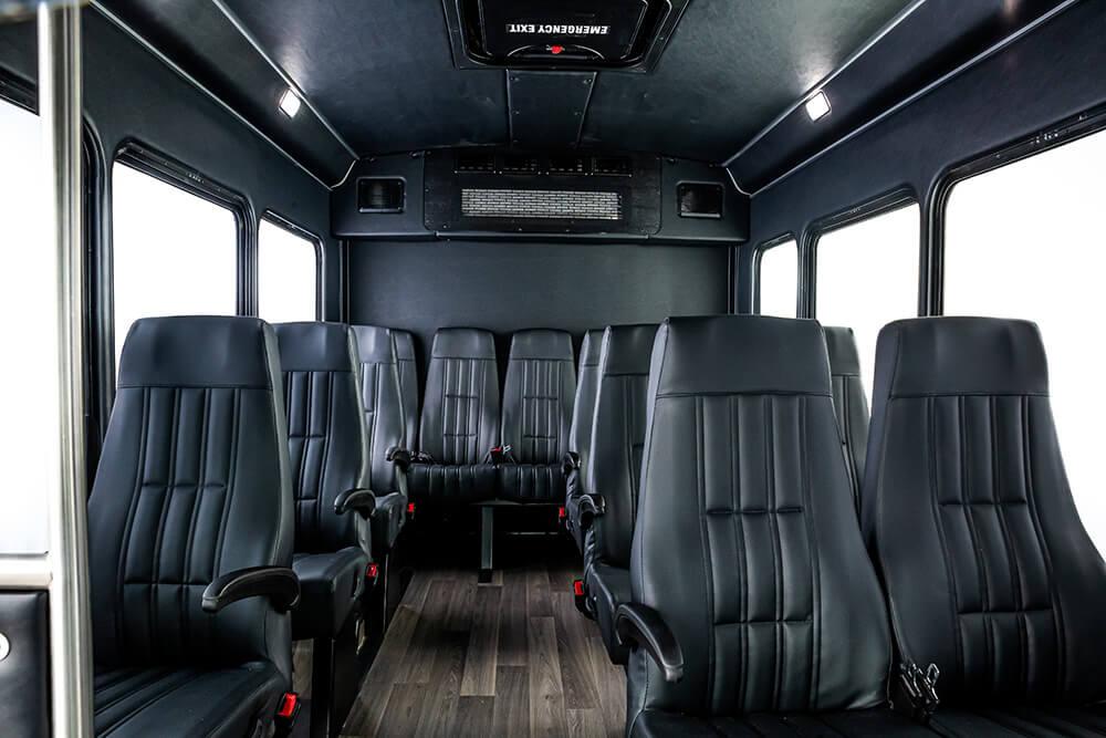 comfortable interior inside shuttle bus