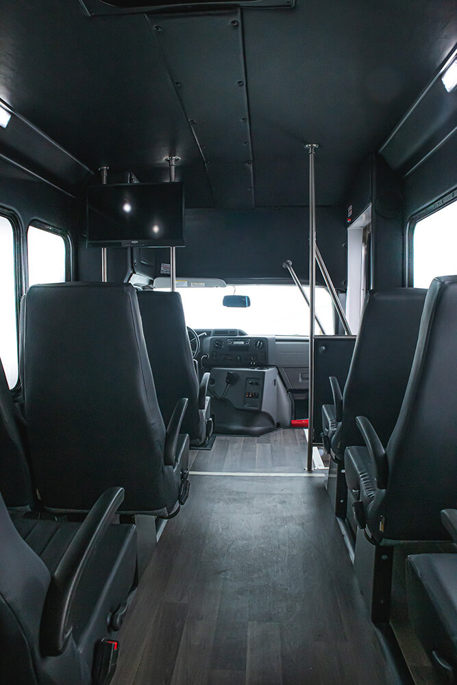 shuttle bus with wide center aisle