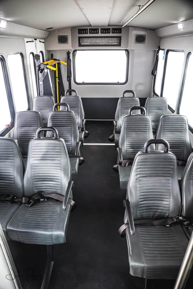 12 passenger bus rental interior seats