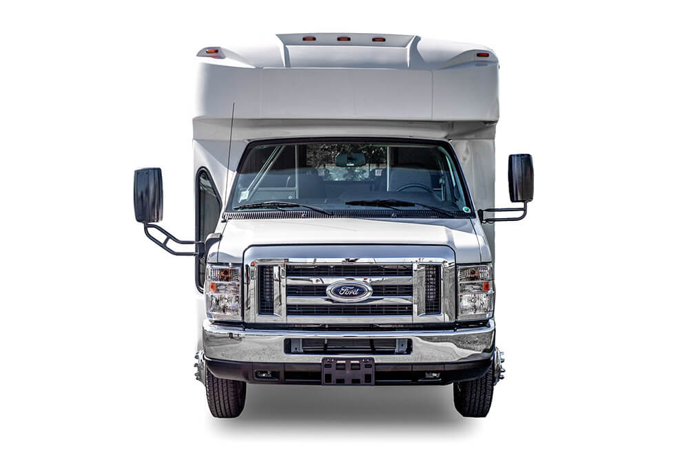 front view small shuttle bus rental