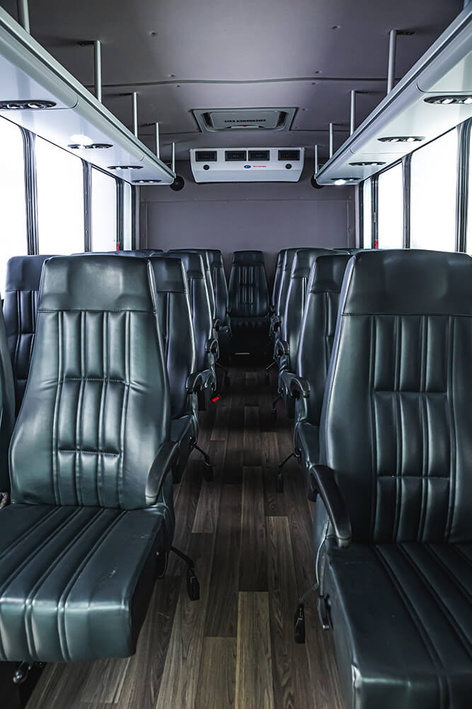 high ceilings inside minibus rental