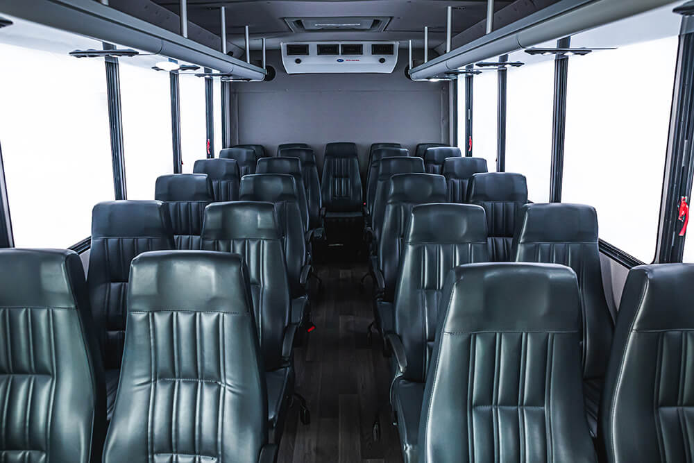 luxury interior inside 25 passenger minibus
