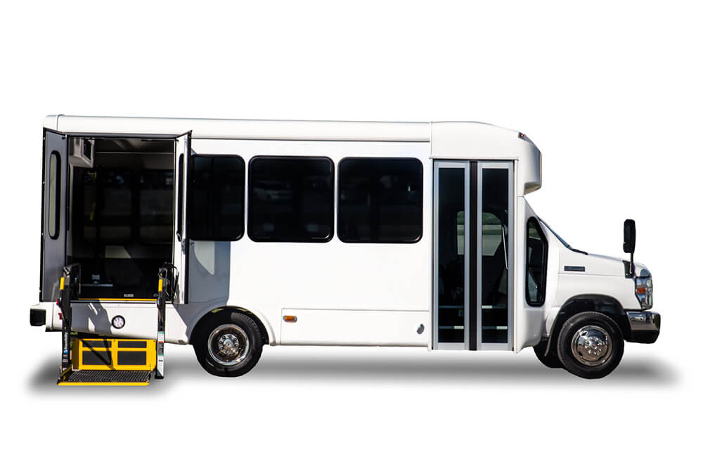 small bus with wheelchair lift exterior